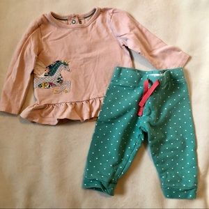 Mini Boden girls, unicorn appliqué set, 3-6 mo